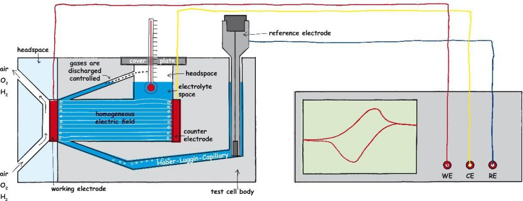 Test cell FlexCell and the connection to the potentiostat