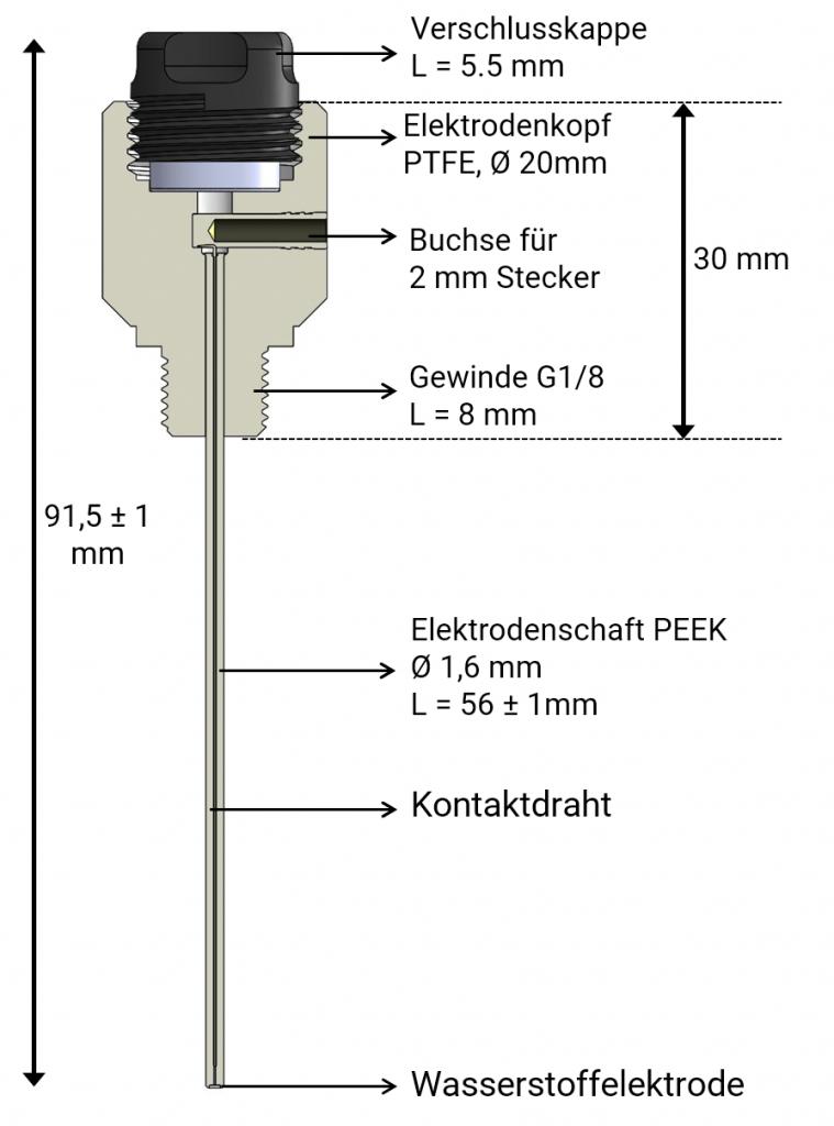 Querschnitt der Mini-Wasserstoffelektrode Mini-HydroFlex