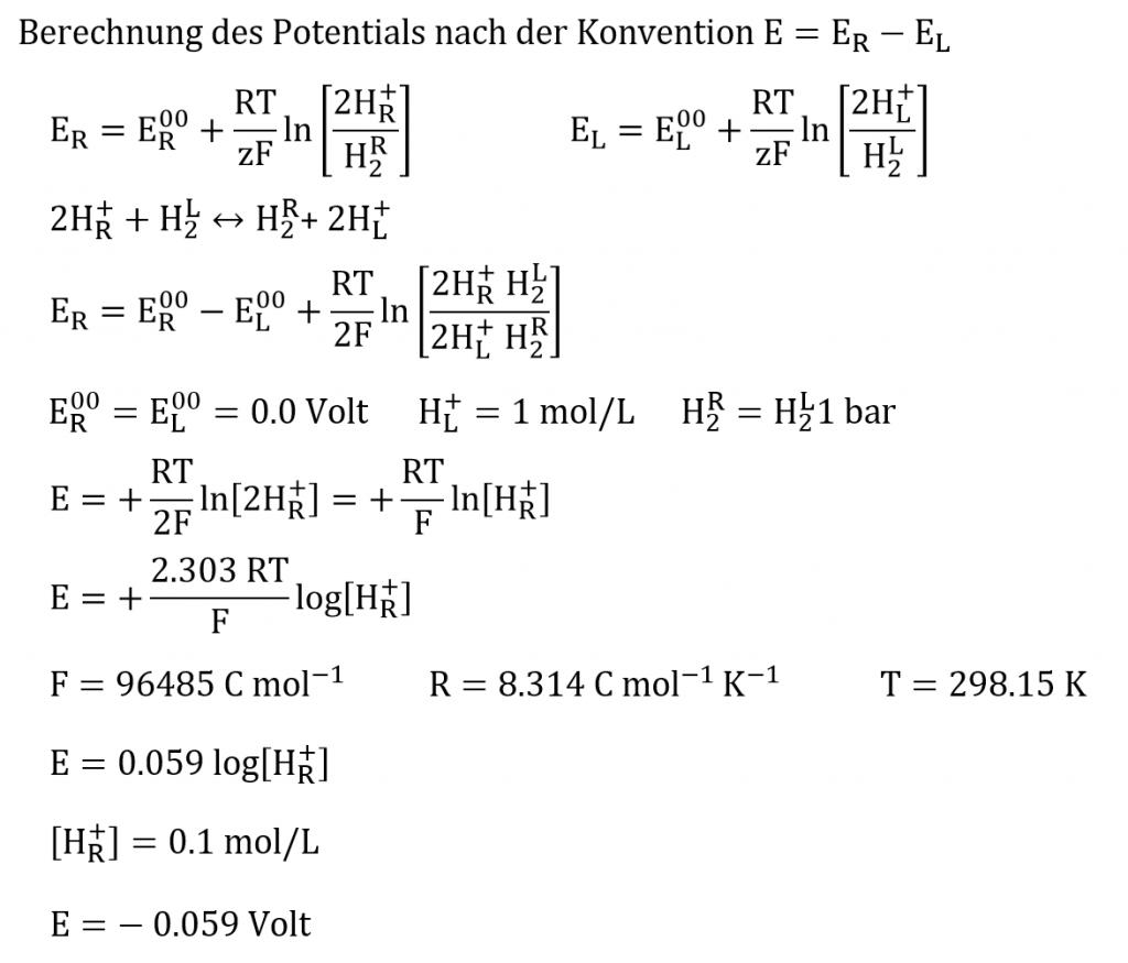 pH-Wert-Berechnung nach Konvention Rechts minus Links