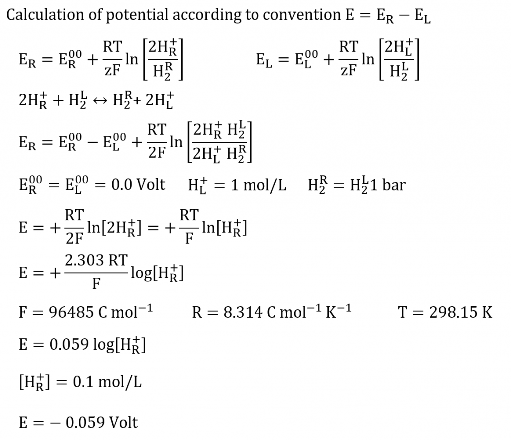 Calculation of potential according convention right minus left