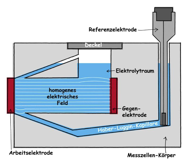 homogenes elektrisches Feld in der Messzelle