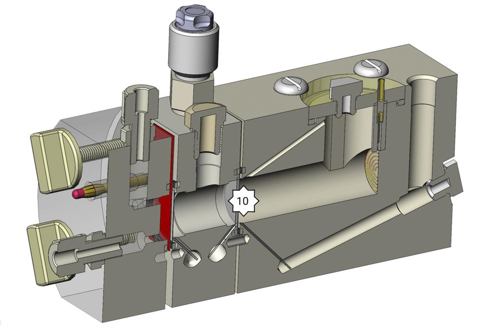 Messzelle FlexCell mit Analytkompartment und Membran im Querschnitt